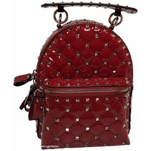 Valentino Red Patent Leather Spike Mini Backpack